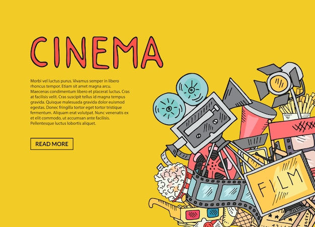 Cinema de vetor doodle composição sobre fundo amarelo com modelo de texto
