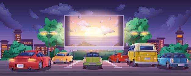 Cinema drivein com automóveis no estacionamento ao ar livre durante a noite cinema ao ar livre com grande brilho.