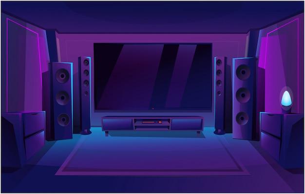 Cinema em casa com grandes colunas de música. interior da sala de jogos.