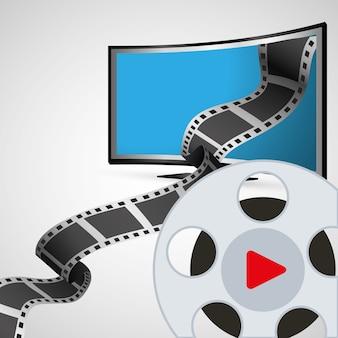 Cinema entretenimento televisão com bobina de filme
