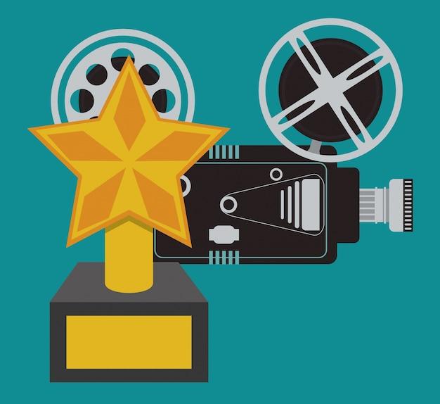 Cinema filme de câmera e troféu de premiação