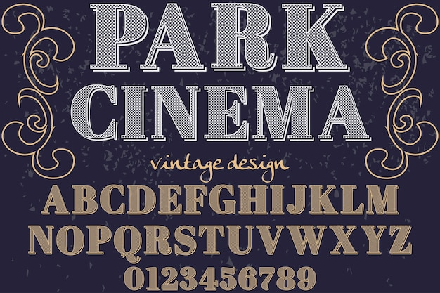 Cinema gráfico do parque do estilo da fonte do vintage