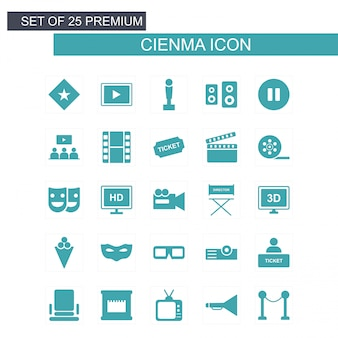 Cinema icons set vector