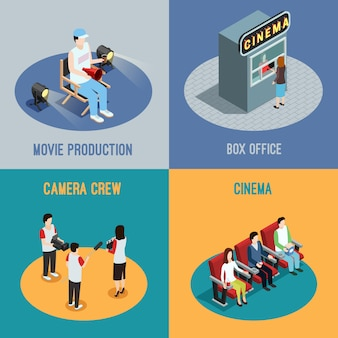 Cinema movie isometric elements square