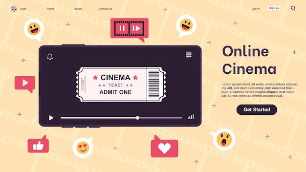 Cinema online. vídeo, clipe, filme assistindo via smartphone. streaming de filmes.