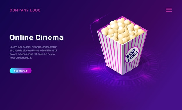 Cinema ou filme on-line, conceito isométrico