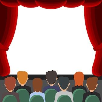 Cinema, pessoas sentadas em frente à tela. bandeira