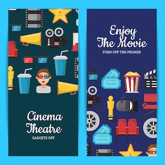 Cinema plana ícones modelos de banner web Vetor Premium