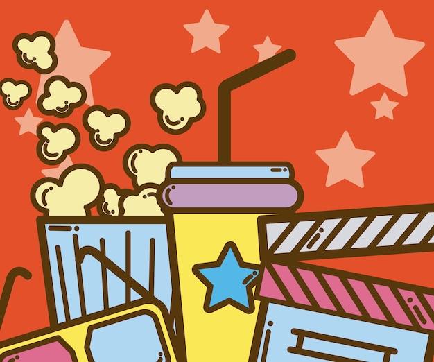 Cinema retrô e desenhos animados coloridos desenham com estrelas