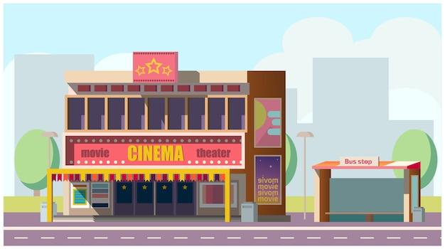 Cinema, teatro, ligado, rua cidade