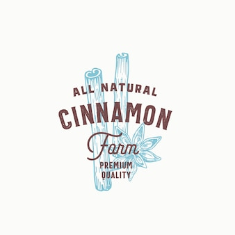 Cinnamon spice farm abstrato sinal, símbolo ou modelo de logotipo. mão desenhada paus de canela e flores com tipografia vintage premium. conceito de emblema vintage elegante.
