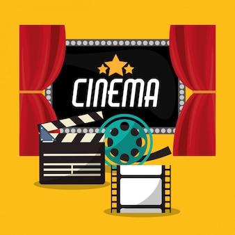 Cinta de filme e placa de filme de cinema teather