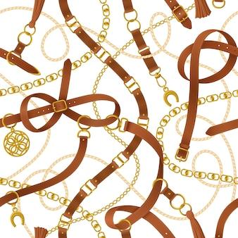 Cinto decorativo padrão sem costura preto realista com ilustração de fivela
