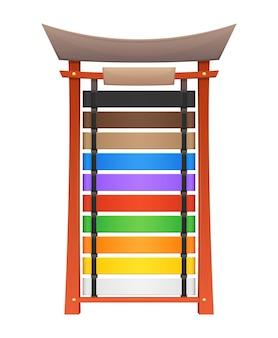 Cintos de caratê ou artes marciais exibem suporte ou prateleira de madeira, fileiras