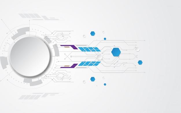 Cinza branco abstrato base de tecnologia com vários elementos de tecnologia fundo de inovação de conceito de comunicação de alta tecnologia espaço vazio do círculo para o seu texto