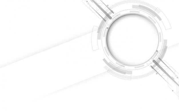 Cinza branco abstrato tecnologia base com vários elementos de tecnologia hi-tech comunicação conceito inovação fundo