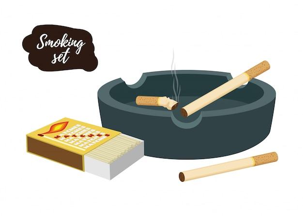 Cinzeiro com bitucas de cigarro, caixa de fósforos