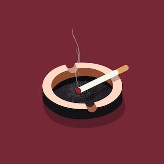 Cinzeiro com cigarro, cigarro, ilustrações isométricas de cigarros.