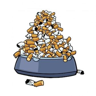 Cinzeiro com muitas pontas de tabaco