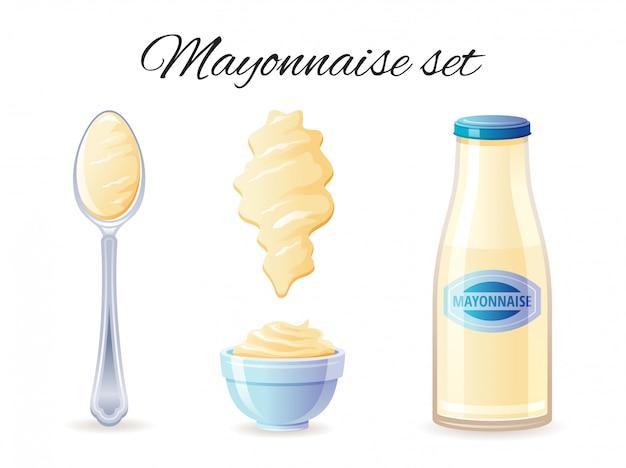 Cion de molho de maionese com garrafa de molho de mayo, tigela, colher, respingo.