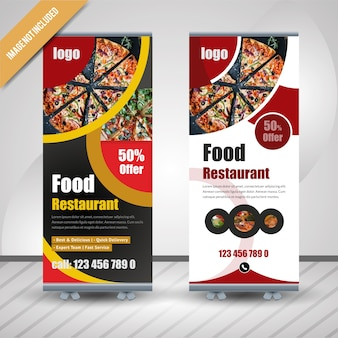 Circle food roll up banner para restaurante