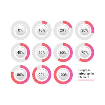 Circle progress bar icon infográfico elemento