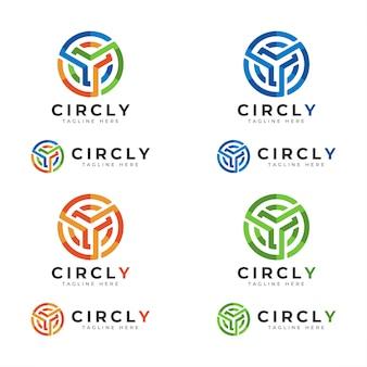 Circly letra y logotipo com conceito de círculo