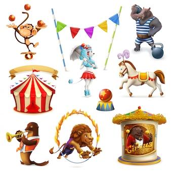 Circo, animais engraçados, conjunto de malha