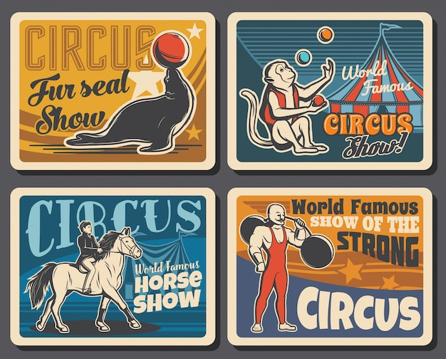Circo, chapiteau e carnaval mostram cartazes retrô