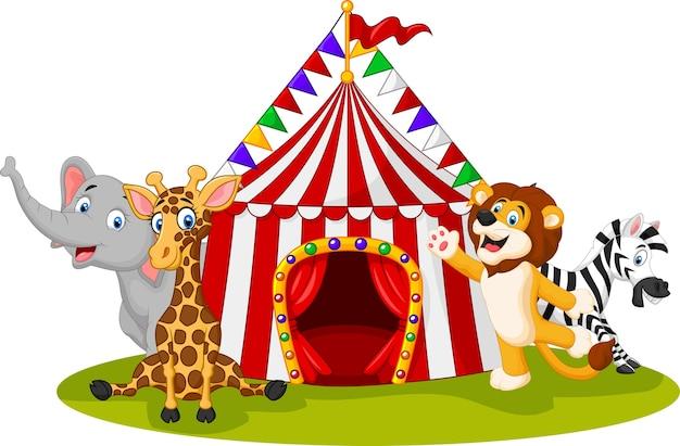 Circo de animais feliz dos desenhos animados e palhaço