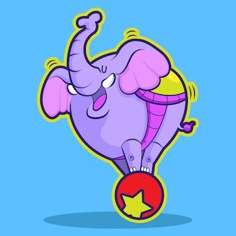 Circo de elefante fofo jogando bola