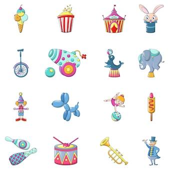 Circo divertido mostrar conjunto de ícones