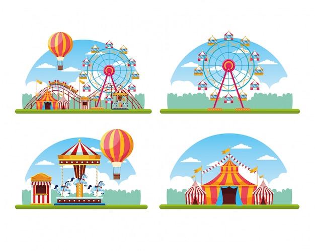 Circo festival justo conjunto de paisagem