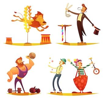 Circo itinerante cartoon retrô 4 ícones quadrados composição com a realização de palhaço de homem forte