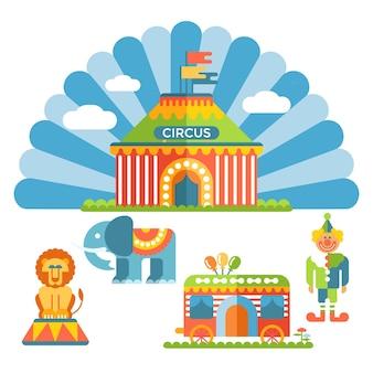 Circo plano e elementos de design; palhaço, leão, elefante e carroça de circo.