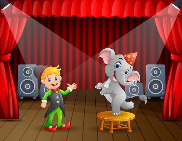 Circo realizando na ilustração de palco