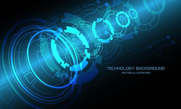 Circuito cibernético de círculo azul de tecnologia desmontar sobreposição de fundo de design futurista moderno.