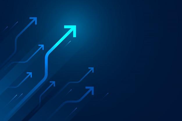 Circuito claro da seta na ilustração azul do fundo, composição do espaço da cópia, conceito do crescimento do negócio.