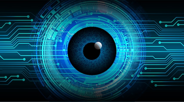 Circuito cyber de olho azul tecnologia futura conceito fundo