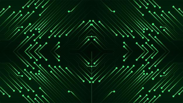 Circuito cyber verde futuro conceito de tecnologia fundo
