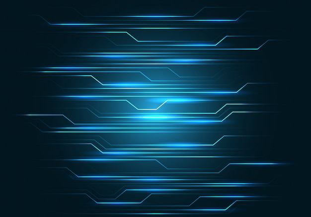 Circuito da linha azul no fundo preto da tecnologia.