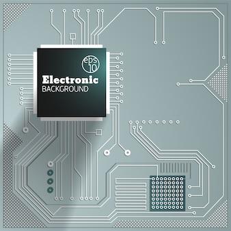 Circuito de computador em fundo cinza ilustração