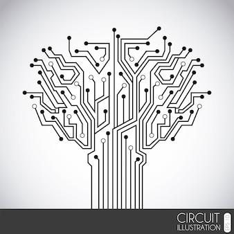 Circuito de ícone sobre ilustração vetorial de fundo cinza