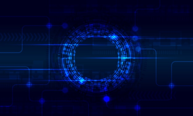Circuito digital radial futurista círculo fundo abstrato virtual