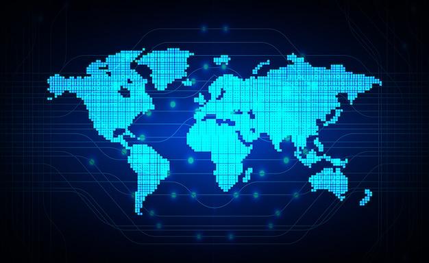 Circuito do mundo cyber azul tecnologia futura conceito fundo