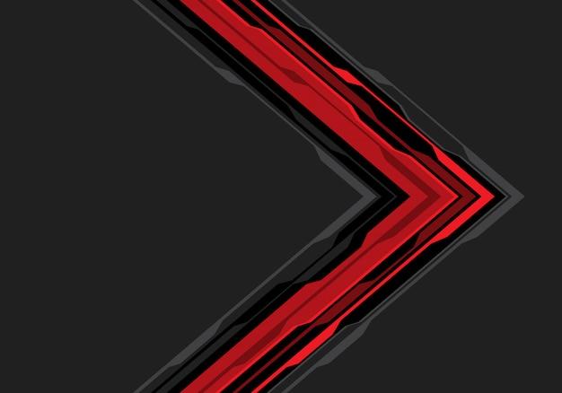 Circuito preto vermelho da seta no fundo cinzento do espaço vazio.