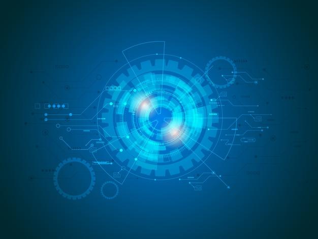 Circuitos de tecnologia abstrata em fundo azul