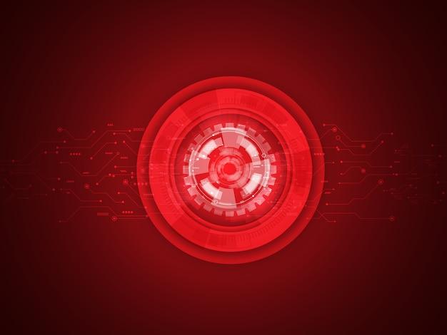 Circuitos vermelhos abstratos e fundo do sistema