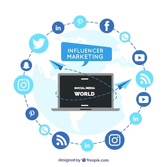 Circular influencer marketing vector