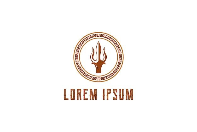 Circular trident neptune lord poseidon triton rei da lança logo design vector